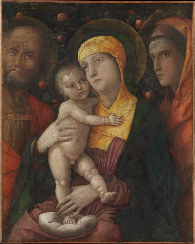 cavetocanvas:  Andrea Mantegna, The Holy Family with Saint Mary Magdalen, c. 1495-1500 From the Metropolitan Museum of Art:  From 1460 Mantegna painted in Mantua for the Gonzaga family, whose cultivated court promoted humanist culture, with its emphasis on the example of Antiquity. Characteristically then, in this late picture Mantegna was inspired by classical funerary reliefs to achieve a rare combination of austerity and sweetness. It is painted in distemper, a pigment employing animal glue as a medium. This allowed him to give strong definition to the forms. The picture has, however, suffered from past cleanings.