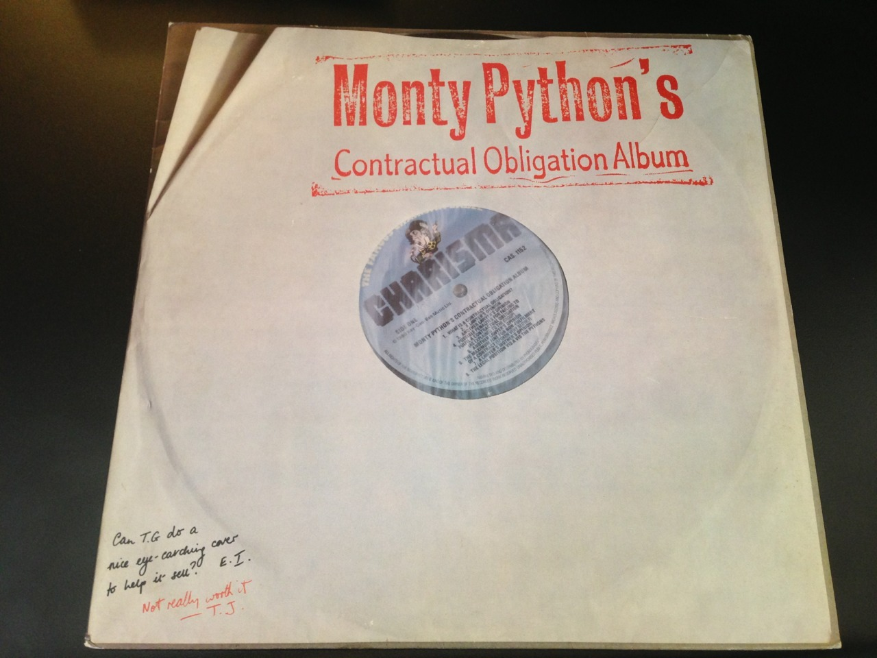 Vinyl art for the original pressing of Monty Python's Contractual Obligation album