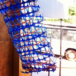 the #blue #tube at #vorsprungarten #orange #weave #polyrope #webbing #herbladder #sculpture #installation #igerssydney #parramatta #publicart