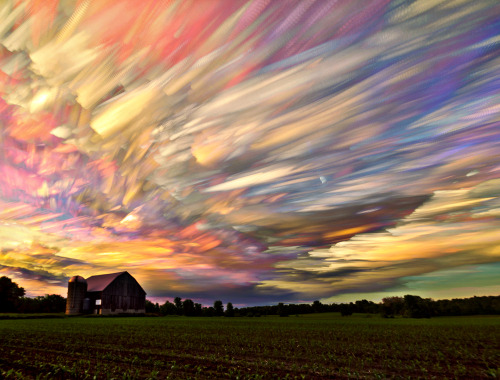 matt-molloy:  396 photos merged into one image using the lighten blending mode in photoshop. I think this one pretty much covers the colour spectrum of sunsets, lacking only the darker reds. I can't get enough of this technique!