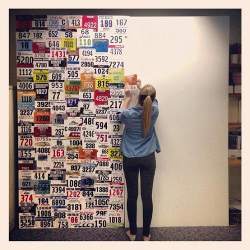 tonefastfitness:  Motivation: Runner's wall  i want to do this but with a scrapbook instead! glad i'm not the only freak who saves them!