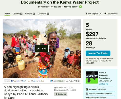 Help PackH2O, Partners for Care & Manifesto TV in our latest adventure to Kenya. Join our cause and help back our partners goal in proving how effective our packs can be on communities!  http://www.kickstarter.com/projects/75913692/documentary-on-the-kenya-water-project