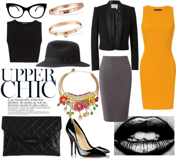 Upper Chic by charlie-fi featuring a gold braceletZara  dress / Mango crop tee / Lanvin , $2,810 / Elie Saab silk skirt / Christian Louboutin  heels / Givenchy envelope clutch / Hermès gold bracelet / Hermès gold bracelet / Betsey Johnson rhinestone necklace / Norma Kamali black optical / Black fedora, $69