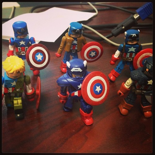 Just my desk friends. #captainamerica #marvel