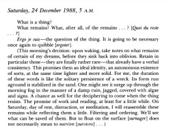 toniiu:  Jacques Derrida, Seven Diary Fragments  but to float on the surface does not necessarily mean to survive