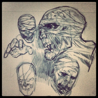 Desk shot: mummy sketches #SebastianHawks #comics #creature #art