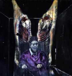 "microcosmicmorganism:  tracyvanity:  ""Figure With Meat"" by Francis Bacon  ""based on the Pope Innocent X portrait by Diego Velázquez; however, in the Bacon painting the Pope is shown as a gruesome figure and placed between two bisected halves of a cow. The carcass hanging in the background is likely derived from Rembrandt's Carcass of Beef, 1657.[1] The painting is in the permanent collection of the Art Institute of Chicago.""  In the Tim Burton 1989 version of Batman, there is a scene where Jack Nicholson's Joker and his crew are destroying art in a museum but when one of his henchmen is about to cut up this piece, he tells him to leave it because he kind of likes this one. That scene stood out to me because it was the only part of the film that wasn't cheesy as fuck and had some character depth. I really like Bacon's painting as well.  Fucking love old Francis!"