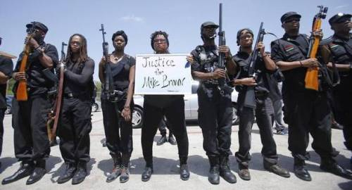 ragemovement:  Huey P. Newton Gun Club A group of 30 black men and women (and growing), in Dallas, who wish to resurrect the black movement of self-defense and self-determination in the name of the past Black Panther leader. Wednesday they publicly debuted staging an armed, but peaceful rally and march/police-the-police patrol around Malcom X and Martin Luther King Boulevard for just under and an hour and a half. The Gun Club's Demands are as follows: 1. We demand the immediate end to police brutality, harassment, and murder of the people. 2. We assert the right of the people, particularly those of color, to bear arms and protect themselves where local, state, and the federal government have historically failed to do so. 3. We demand that the media, in coordination with police, cease immediately assassinating the character of victims subject to police terrorism. (Source)   Thank. Fucking. God.