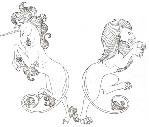 Unicorn and Lion by ~TheRaineDrop