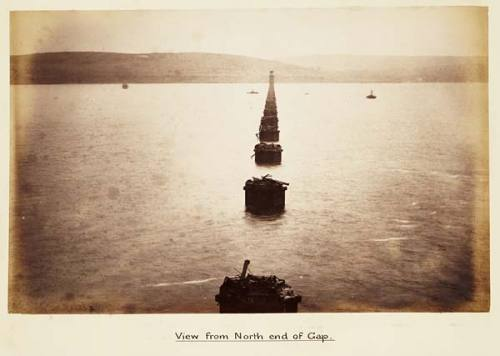 Photograph of wrecked piers after collapse of part of the first Tay Bridge