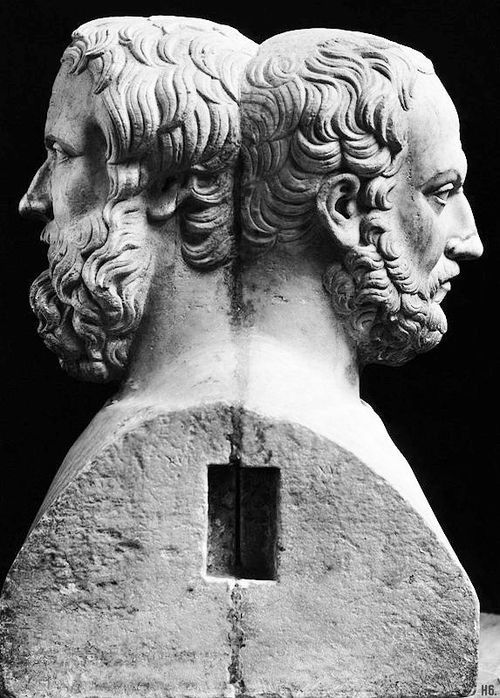 The double headed bust of Herodotus and Thucydides. Greek. 4th.century. BC. National Archaeological Museum. Naples