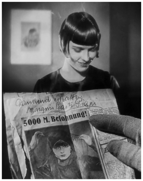 "books0977:  Die Büchse der Pandora (1929). Louise Brooks as libertine dancer Lulu. German filmmaker G.W. Pabst's late-silent classic Pandora's Box. Ever out for the ""main chance,"" Lulu persuades her wealthy lover Dr. Schön (Fritz Kortner) to marry her. But in a fit of jealous rage, he pulls a gun, a scuffle ensues, and she shoots him. Eventually escaping to London with the doctor's moonstruck son Alwa (Francis Lederer), Lulu takes up residence with her ""adopted"" father Schigolch (Carl Götz), where she is reduced to walking the streets, with tragic consequences."