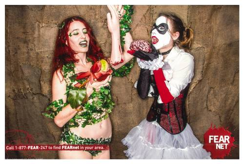 """How Poison Ivy and Harley Quinn get rid of bodies."" Wondercon 2013 in Anaheim, CA. Rose Palmer as Poison Ivy & Jessica Schultz as Harley Quinn. FEARnet booth. Submitted by thatvegancosplayer"