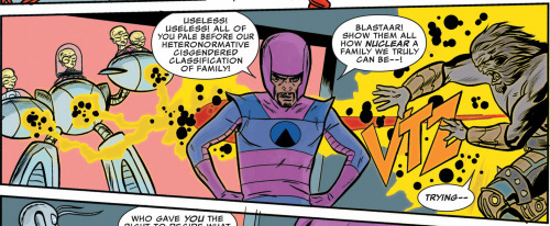 "Wow! I kinda want to marry Fraction & Allred's FF. Last month they gave us trans lady Moloids, this month they're tossing the scary ""c"" word around like it's no big deal in the middle of a story that's explicitly about how chosen family is sometimes healthier than the one you're born into. This is the kinda the best comic. (Seriously, has any mainstream comic book ever used the word ""cisgender"" before? I'm pretty sure the answer is no.)"