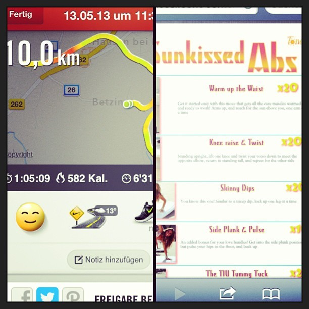 My workout today was Sunkissed Abs 3x and 10k (2.5k walk and 7.5k run) for my #100bySummer which took me a little more than an hour 💪💦 Feeling great 👍😊 now taking a 🚿 #tiuspringfever #bikiniseries #fitfam #fitspo #workout #running #healthymeals #tiu #tiuteam