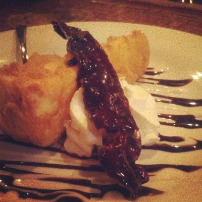 Deep fried cheesecake with chocolate covered bacon