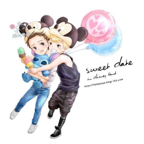 foufoua:   [fan art]eunhae date at disney land !!