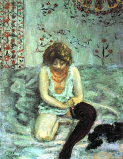 dappledwithshadow:  Woman Adjusting Black Stockings - Pierre Bonnard