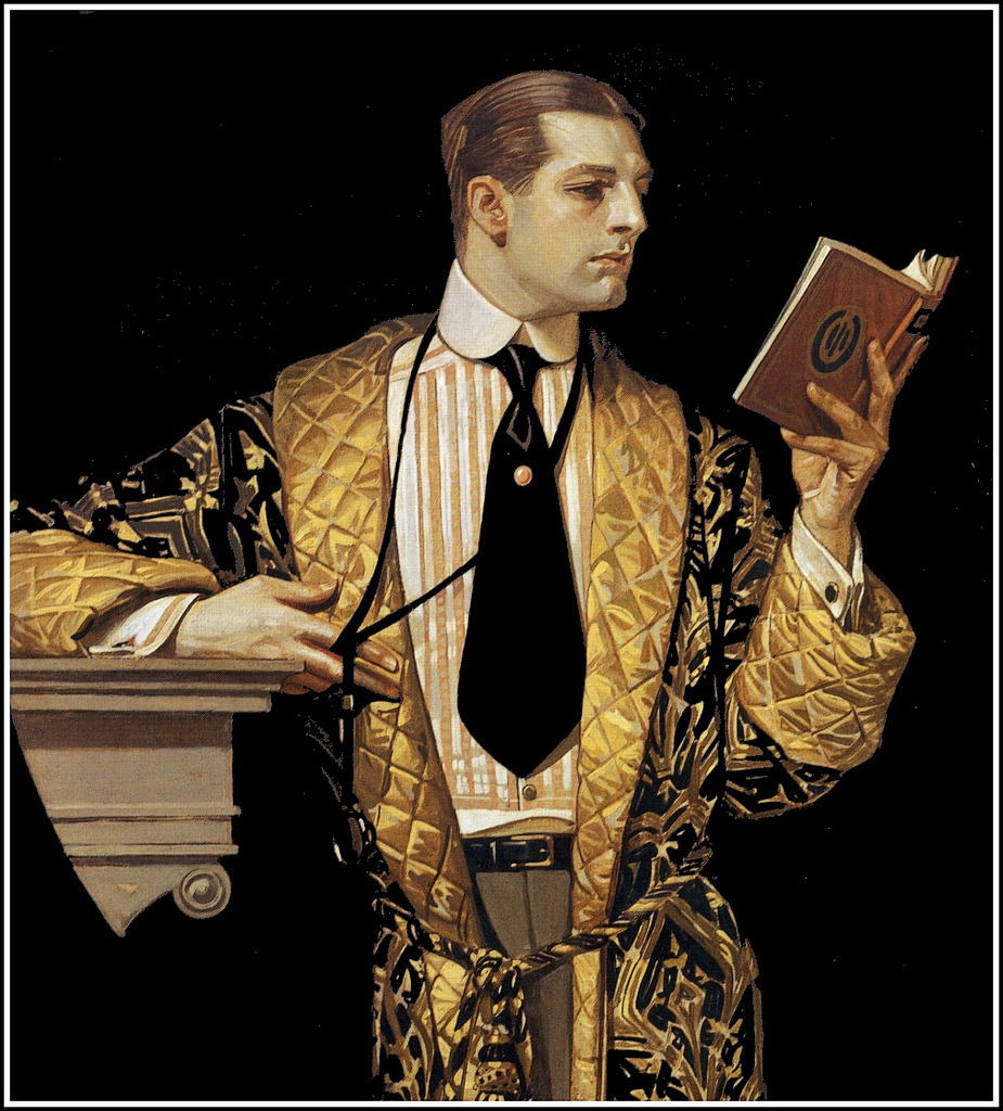 J.C. Leyendecker 'The Arrow Collar Man reading book' 1916 (by Plum leaves)