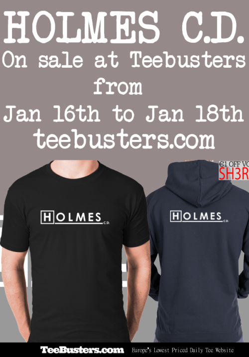 Holmes, C.D. on sale at TeeBusters from January 16 to January 18! Use discount code SH3RLOK at checkoout to get a discount on this tee. For 48 hours only!