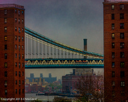 pixielatedpixels:  Bridge to Bridge   Looking up the East River from a point on the Brooklyn Bridge, another shot from a recent rainy day, the span is part of the Manhattan Bridge   Click here and visit my main web site at Pixielated Pixels where many of these photos plus a huge collection of my other images of various subjects can be found to view and for sale in diverse sizes, formats and price ranges.