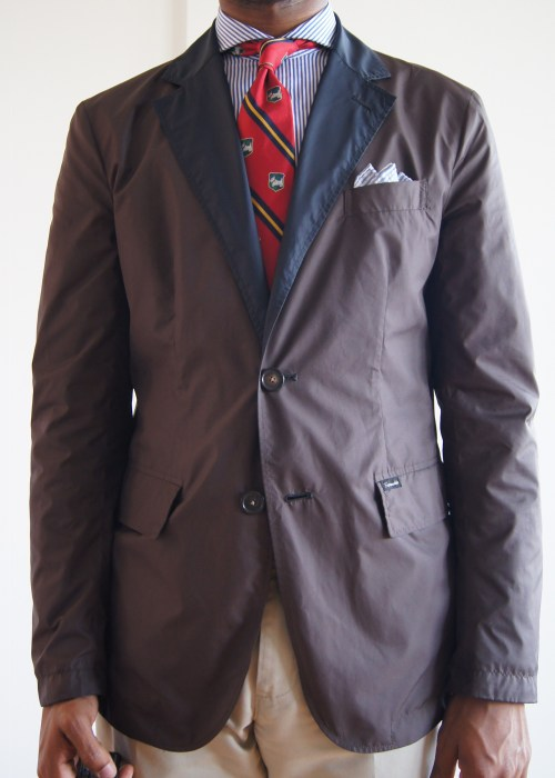 05.09.13 The Other Side Faconnable reversible nylon waterproof sport coat. This is the other side.  I like the navy side better because it has patch pockets.  The besom pocket on this side is also rather narrow.  You can see some of the pulling at the armhole.
