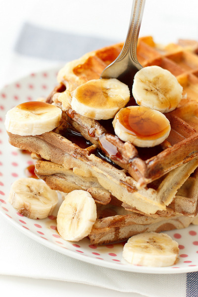 raspberrytart:  Marble Waffles with Banana and Maple Syrup by pozhidaeva on Flickr.