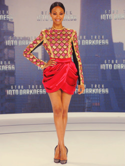 Zoe Saldana in Balmain at Star Trek Into Darkness German Premiere on April 29, 2013 in Berlin, Germany.