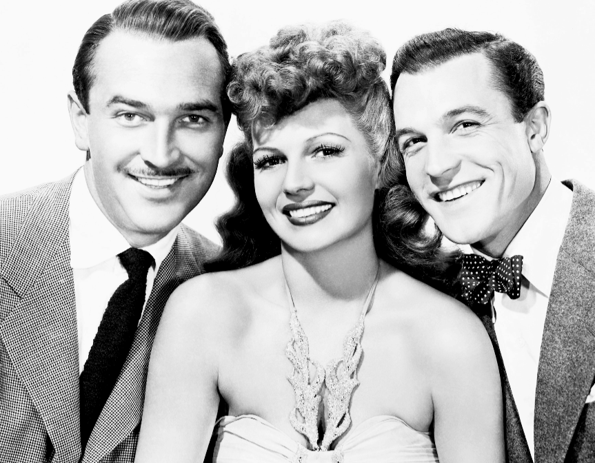 Lee Bowman, Rita Hayworth, and Gene Kelly for Cover Girl (1944)