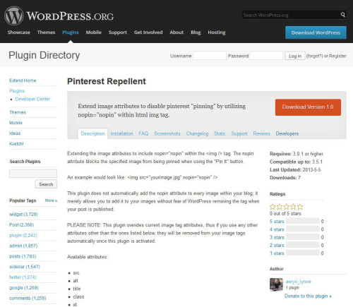I've finally reached my goal of adding a plugin into WordPress.org's plugin directory, YAY! Meet Pinterest Repellent:View Post