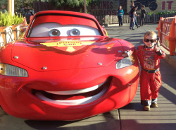peggycress:  Lightning McQueen and his driver after the winning race!