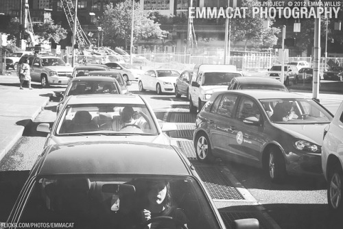 Traffic - 171/365 B&W on Flickr.Via Flickr: Sorry it's now 2013 and I'm still working on the editing from the 365 project from 2012. I am happy to say that I did take photos every day!  Shot this from the back window of a bus.