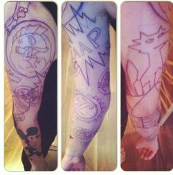 fyspringfield:  Roman Michael Buchtafrom Facebook is getting another Simpsons tattoo added to his sleeve. So far he has:Old school itchy,Dignity,Alf pogs,Stonecutters,Gay zap gun,Spirit coyote,Flying hell fish, &Raven Bart.