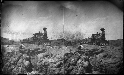 On the Lava Beds, Construction Train A&P Rail Road - July, 1881 Photo By: Ben Wittick Negative #015868
