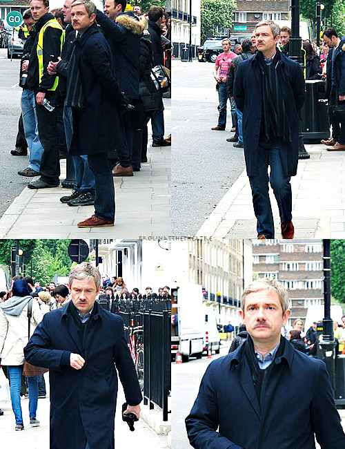 brolinatthetheatre:  The Johnstache in all its glory, Sherlock filming 21 May, photos by Yuzhe Wang