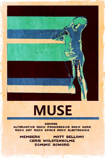 muse band music alternative rock Matt Bellamy illustration vintage art