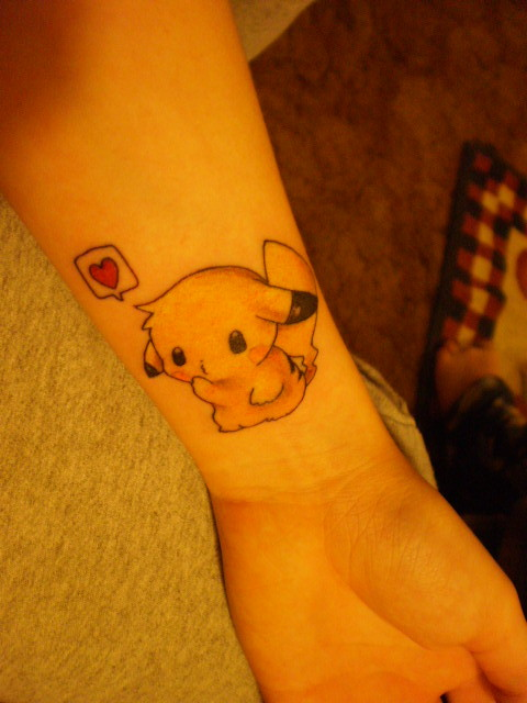 fuckyeahtattoos:  Tattoo: Pokemon; Pikachu. [First tattoo, & my first favorite pokemon ever.]Tattoo Artists Name: Locke. [Male.]Location: U.S.; New Jersey. [Don't feel comfortable specify exactly where at.]