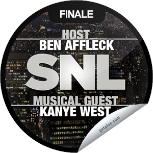 I just unlocked the Saturday Night Live: Ben Affleck and Kanye West sticker on GetGlue                      3589 others have also unlocked the Saturday Night Live: Ben Affleck and Kanye West sticker on GetGlue.com                  Argo watch SNL! You're watching actor and director Ben Affleck direct himself to the SNL stage with musical guest Kanye West. Thanks for watching the season finale of Saturday Night Live tonight! Share this one proudly. It's from our friends at NBC.