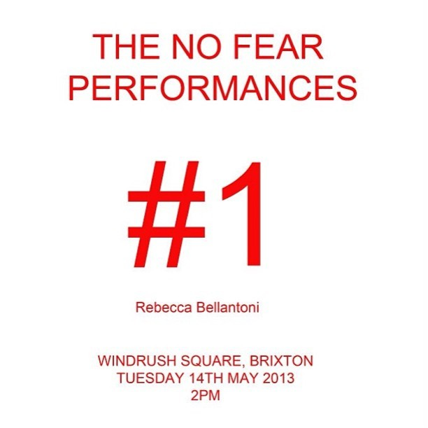 TOMORROW < LOOKING FORWARD TO THIS. A PERFORMANCE BY ARTIST REBECCA BELLANTONI.  #ART #BRIXTON #NEW #NOFEAR #RED #REBECCABELLANTONI