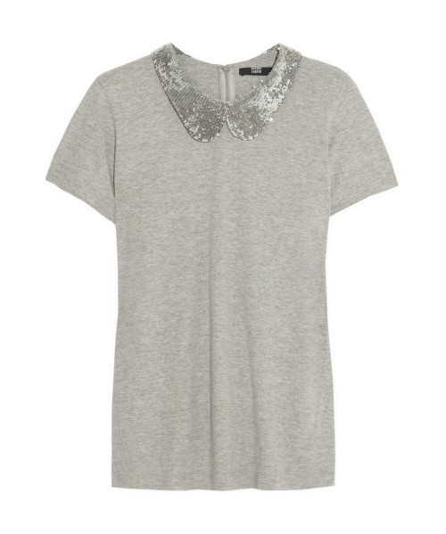 Markus Lupfer - Sequin-collar cotton-jersey top