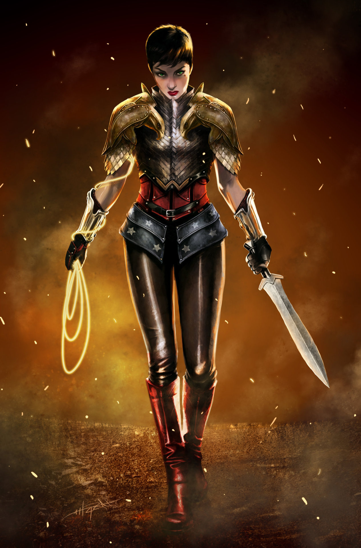 "theresthedoorspaceman:  actuallyitkindamatters:  Diana of Themyscira by ~Rahzzah  Well…I don't even think I need to add the usual ""AWESOME"" This is extremely well-considered. Bravo!  Hey Anne Hathaway, want to play another DC character?"