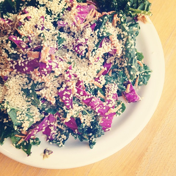 Living green goddess salad earlier tonight. #kale #raw #vegan #vegansofig #whatveganseat #veganfoodshare #greens #latergram  (at Source)