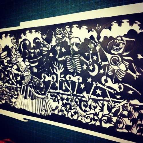 Danse macabre in papercut done. More on www.marieliliomeshop.com. #dansemacabre #deathdance #skeletons #marieliliome #medieval #papercut #scherrenschnitt #folk #lowbrow