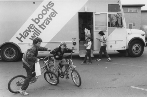 """EPL's bookmobile, seen here circa 1980, began operating in 1941 via streetcar and later by bus in 1947. The vehicles ran until 1992, and may make a comeback in somewhat of a different form over the next few years."""