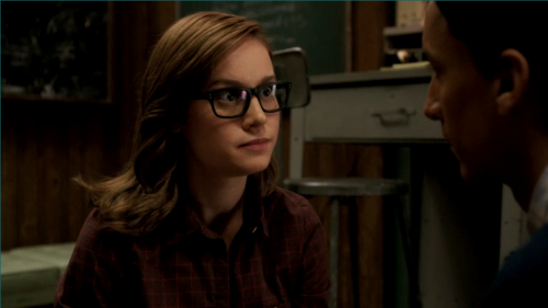 "Brie Larson from Community.      I've totally fallen in love with Abed's love interest Rachel the coat check girl from ""Herstory of Dance"". I blame it on Larson's combination of playful quirkiness, her flowing brown hair, and hipster glasses."