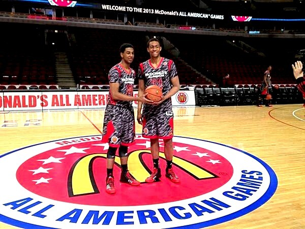 dukebasketballneverstops:  Future Blue Devils Matt Jones and Jabari Parker getting ready for the McDonald's All-American game. They're on the same team tonight, just like they will be in a few months! Check it out at 9:30pm (EST) on ESPN! (x)