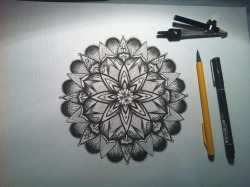 "My first piece of art for sale. A completely unique hand drawn Mandala by myself.  The size of the actual mandala is 7 x 7"" although the paper it is on is 15 x 10.5"". It was drew using a Uni Pin Fine Liner on Water Color paper . If you would like to purchase this drawing then check out the link below. I post worldwide :) *please do not copy my work ©  https://www.etsy.com/uk/listing/150864560/pen-ink-hand-drawn-mandala-original?ref=pr_shop"