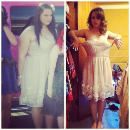beforeandafterfatlosspics:  teaandyou  So  today, I was feeling a little bit down about my progress, and then I decided 'hey, I'll put my formal dress on that I wore in November 2011..' and this happened. This dress was tight, as you can see in the picture, and it was a size UK16/US12. I now wear a size UK8/US4, and the difference shocked me. I work for this every day and behind every decision I make, my goal is kept in my mind. I started my weight loss journey this January, 2012 and continue to go as long as I can! Fitness only seems like a drag when you don't do it! Regular exercise and healthy eating WILL get you there…  ^slow clap :) - awesome results, she looks amazinggggg!