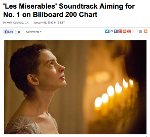 "After the ""Les Miserables"" soundtrack album made a stunning jump this week from No. 33 to No. 2 on the Billboard 200 chart, the set now has its sights set on No. 1. (Read more.)"