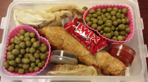 workerbee-lunchtime:  dumplings, egg roll, green peas, dipping sauces, candy